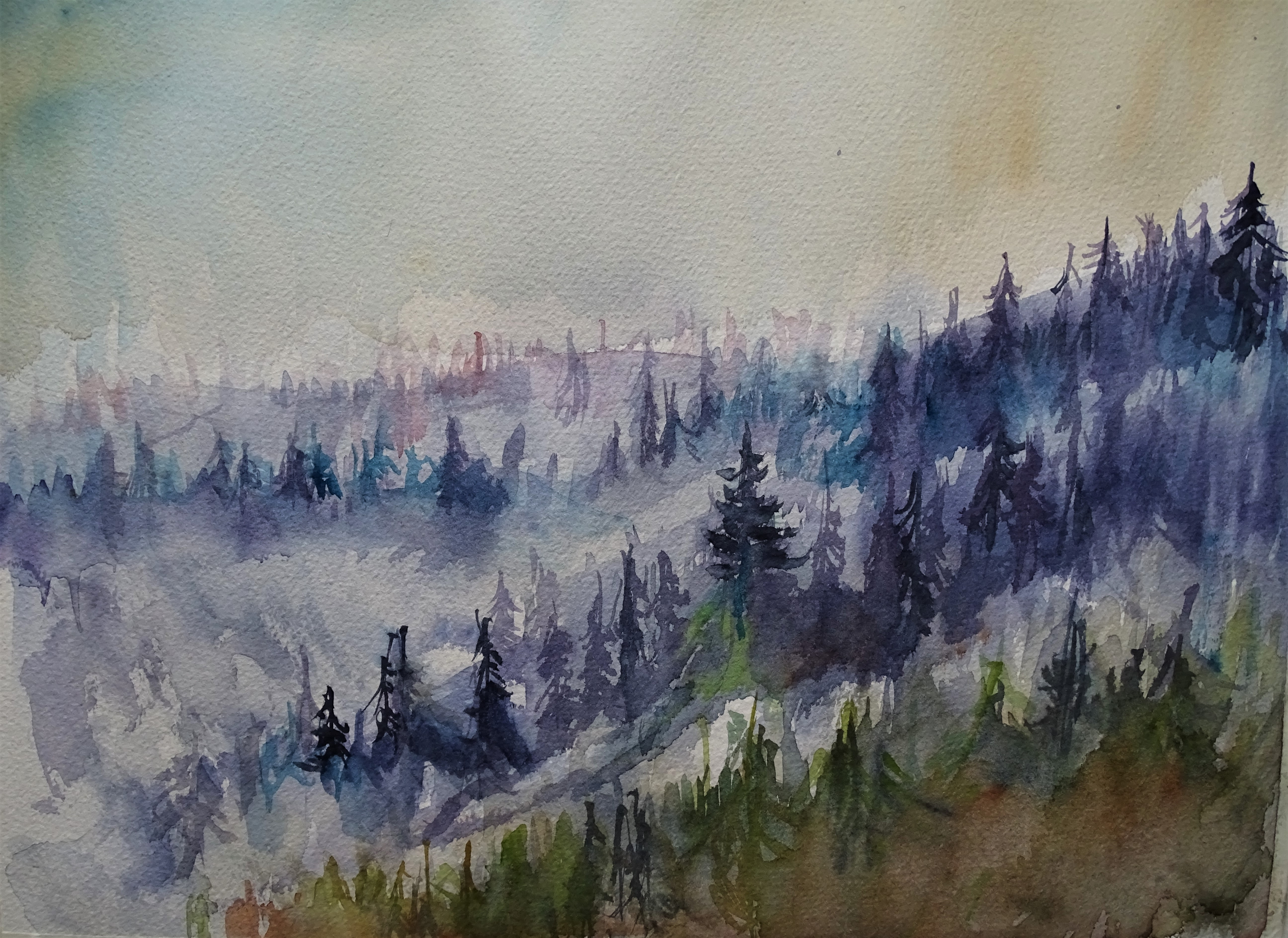 Bayerischer-Wald-Nebel-Aquarelle-Nadia-Baumgart