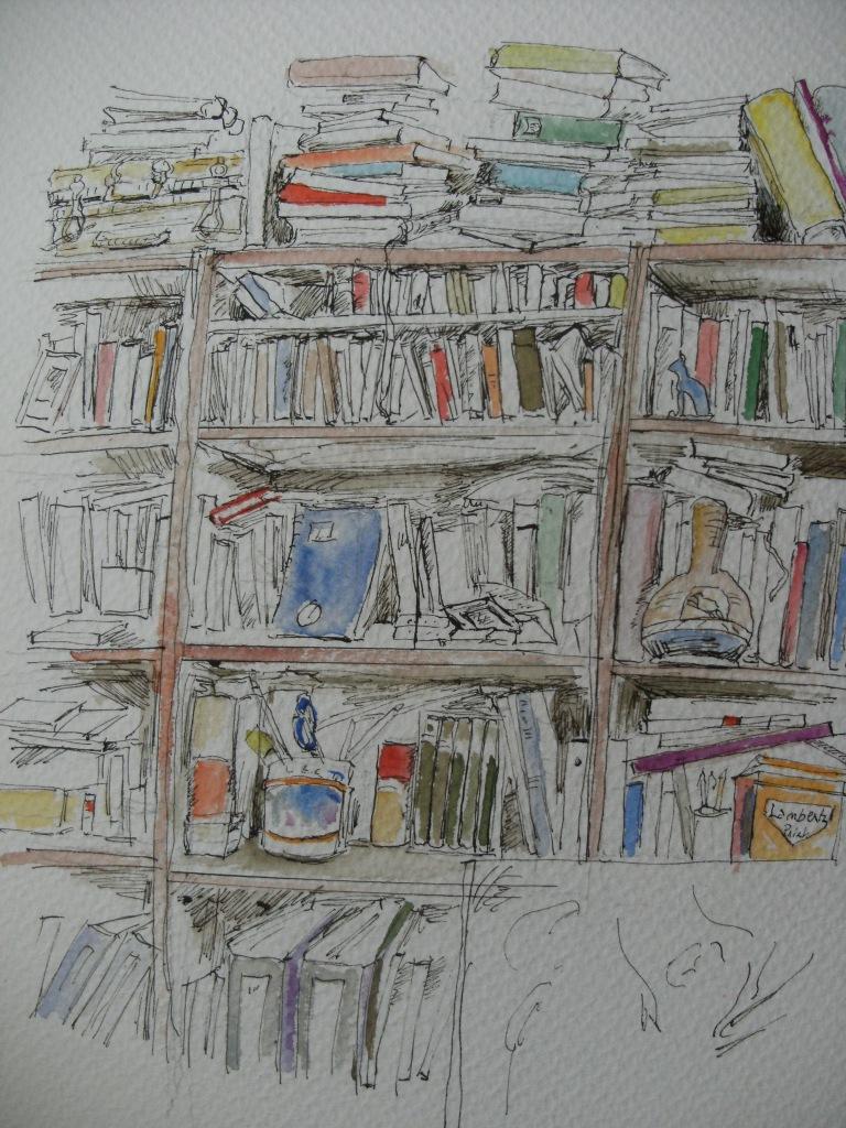 Buecherregal-livres-Nadia-Baumgart-aquarelle