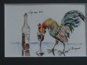 Coq au vin Tuschezeichnung Nadia Baumgart