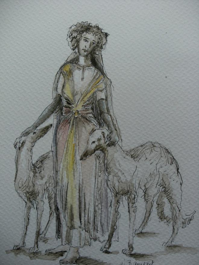 Dame-aux-levriers-aquarelle-Nadia-Baumgart