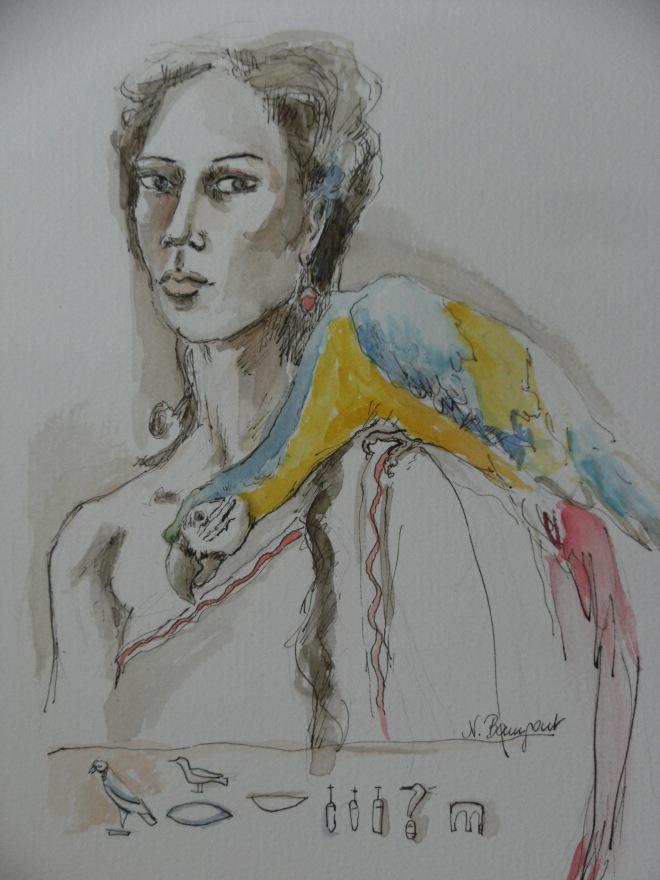 Kleopatra-mit-Papagei-Aquarell-Nadia-Baumgart