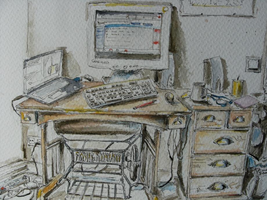 Stillleben-mit-Computer-Nadia-Baumgart-Aquarell-Kunst