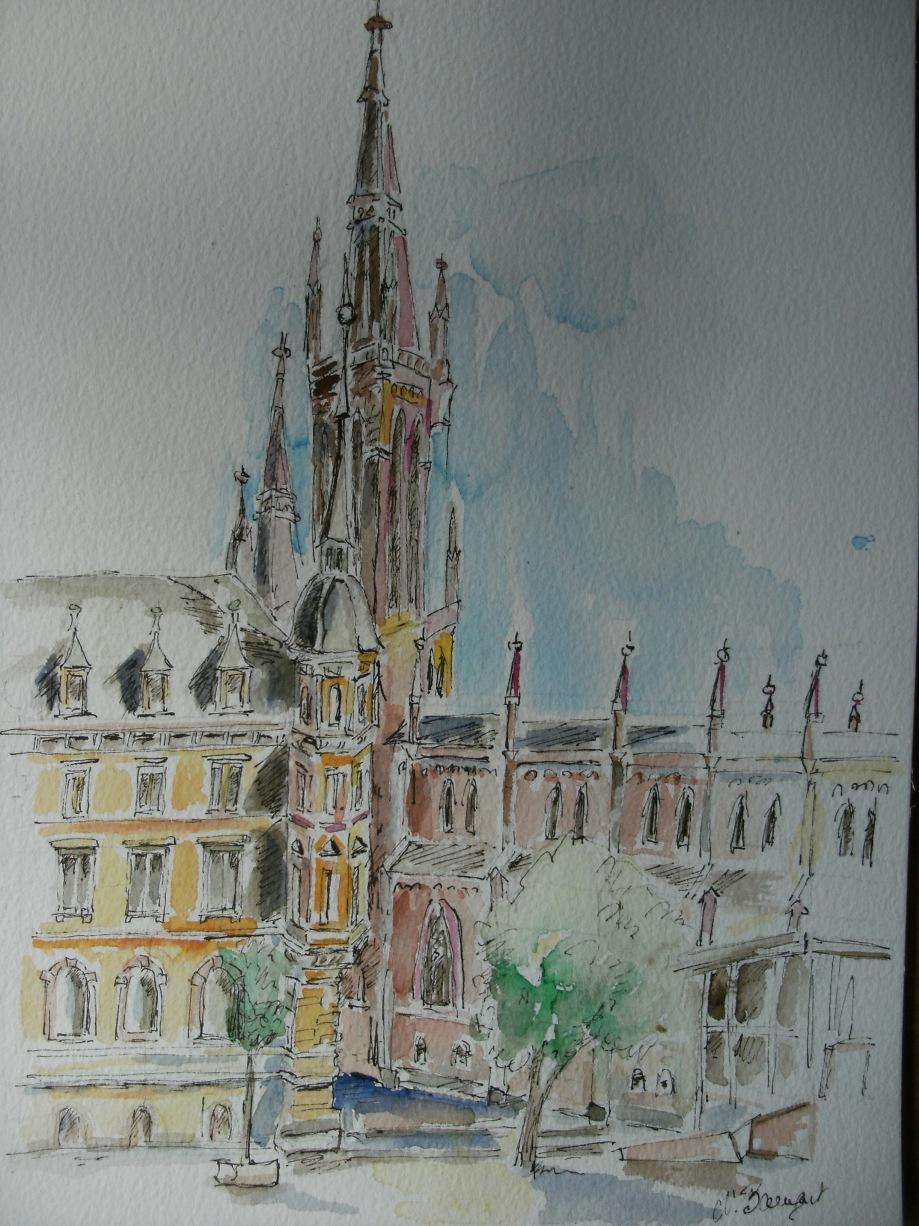 Marktkirche-Wiesbaden-Aquarell-Nadia-Baumgart