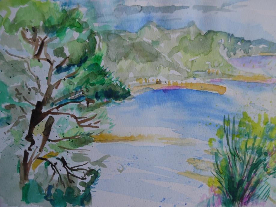 Aquarell-Ligurische Küste