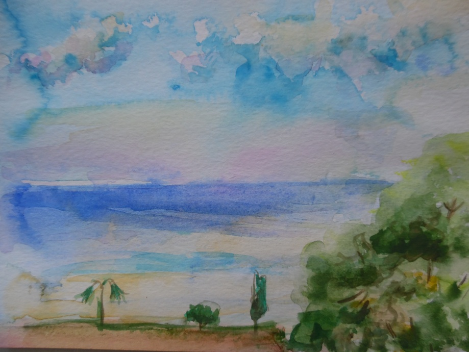 Meeressicht-Aquarell-Watercolour-Nadia-Baumgart
