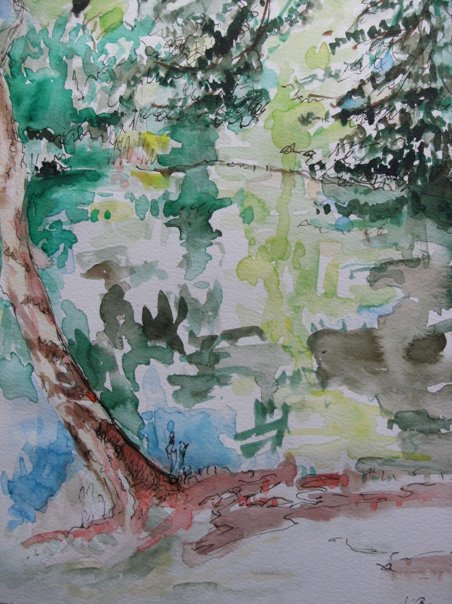 Roter-Baum-Wald-Weiher-Aquarell-Nadia-Baumgart