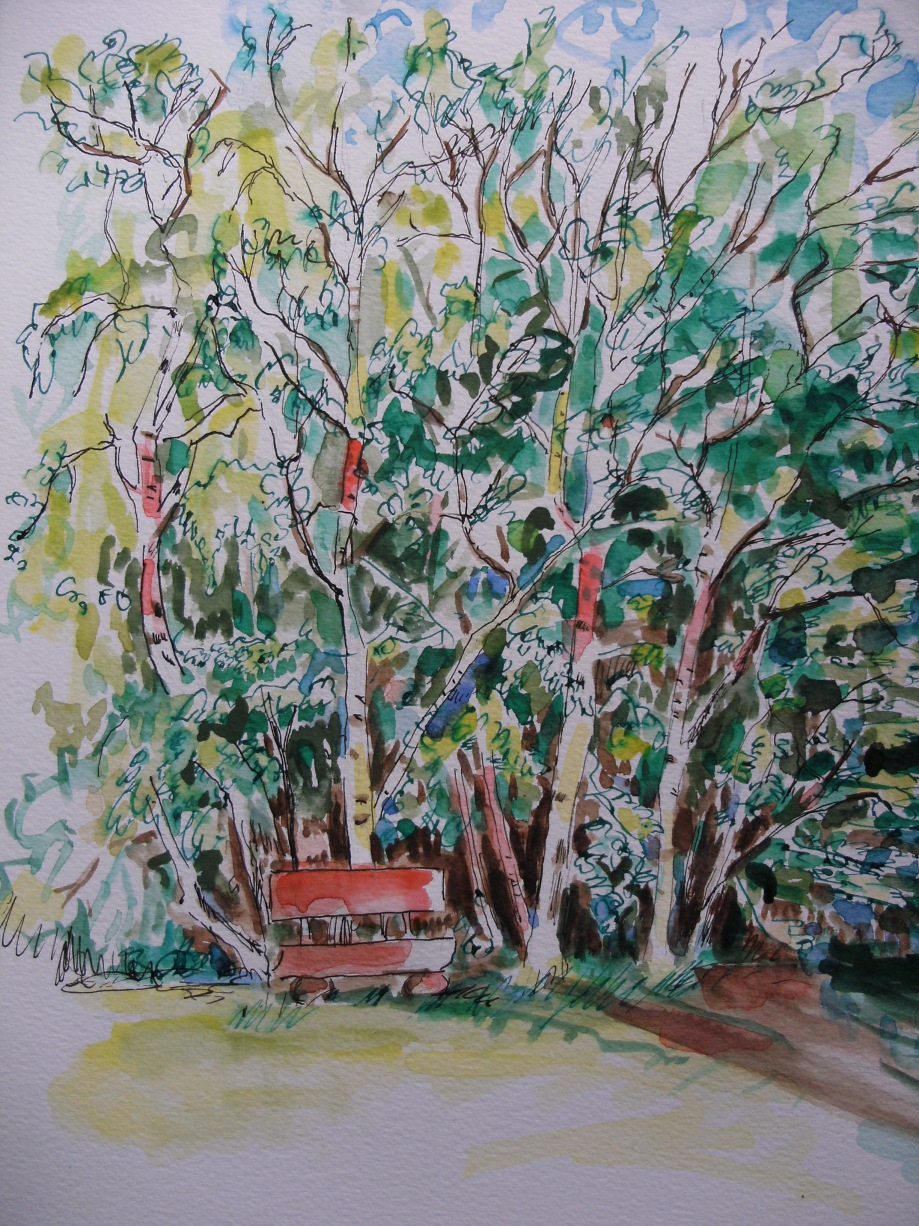 Rotgrüne-Spielerei-Auqarell-Watercolour-Nadia-Baumgart