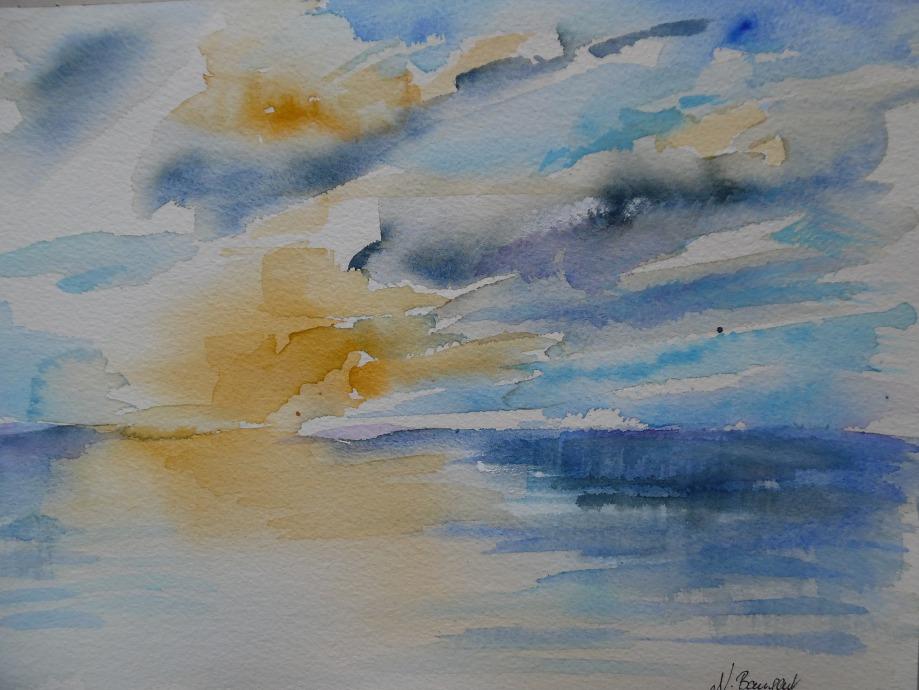 Sunrise-Sonnenaufgang-Laigueglia-Nadia-Baumgart-Aquarelle-Watercolour-3