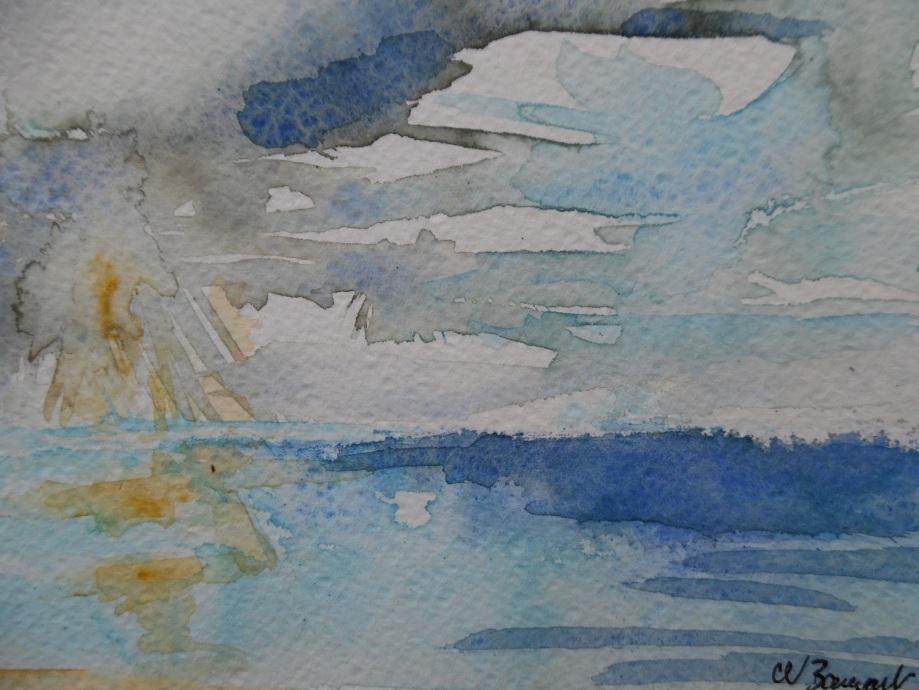 Sunrise-Sonnenaufgang-Laigueglia-Nadia-Baumgart-Aquarelle