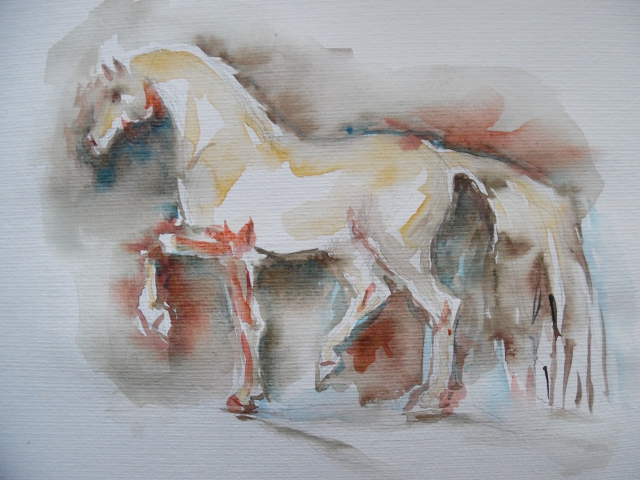 Cheval-Pferd-Horse-Aquarell-Watercolour-Nadia-Baumgart