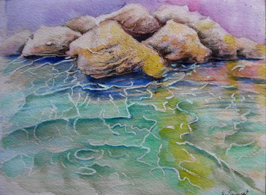 Felsen-rochers-Meer-mare-aquarelle-Nadia-Baumgart