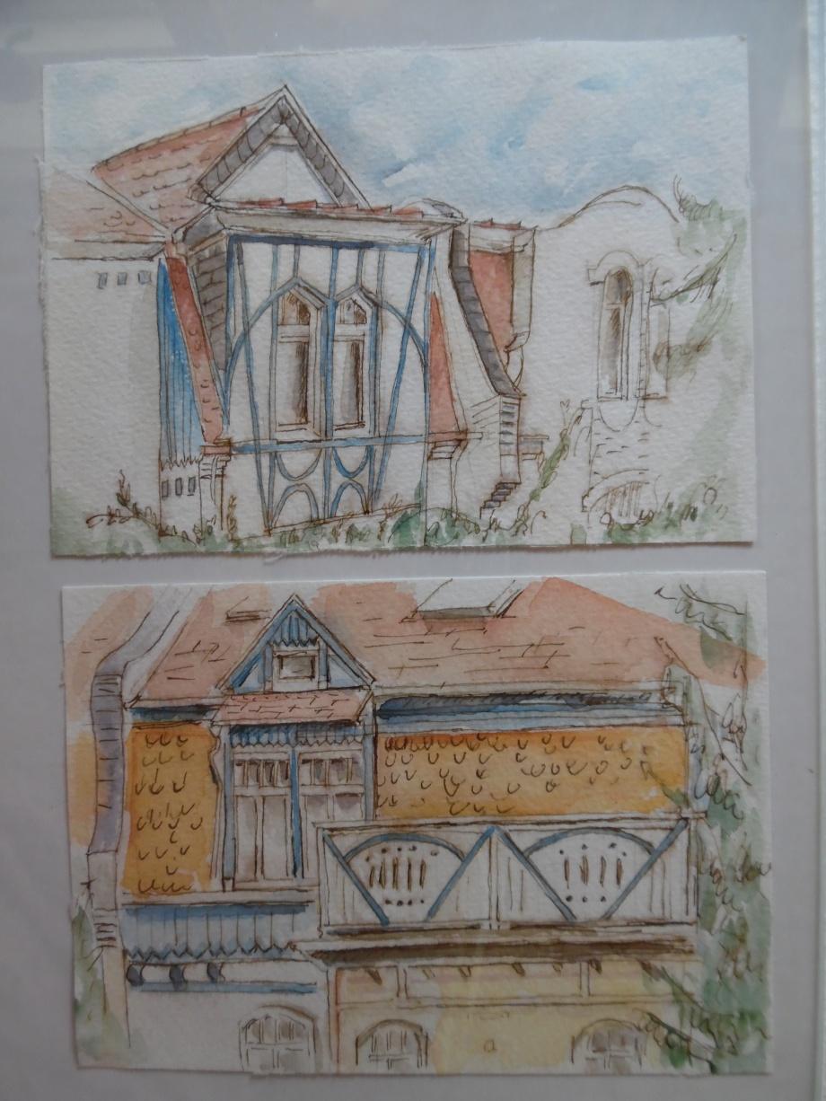 Maison-bleue-Aquarelle-Tuschezeichnung-Nadia-Baumgart