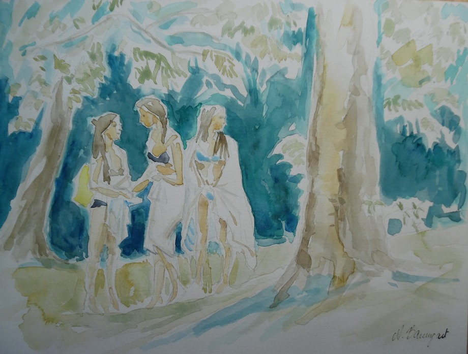 Les-trois-graces-Aquarell-Watercolour-Nadia-Baumgart
