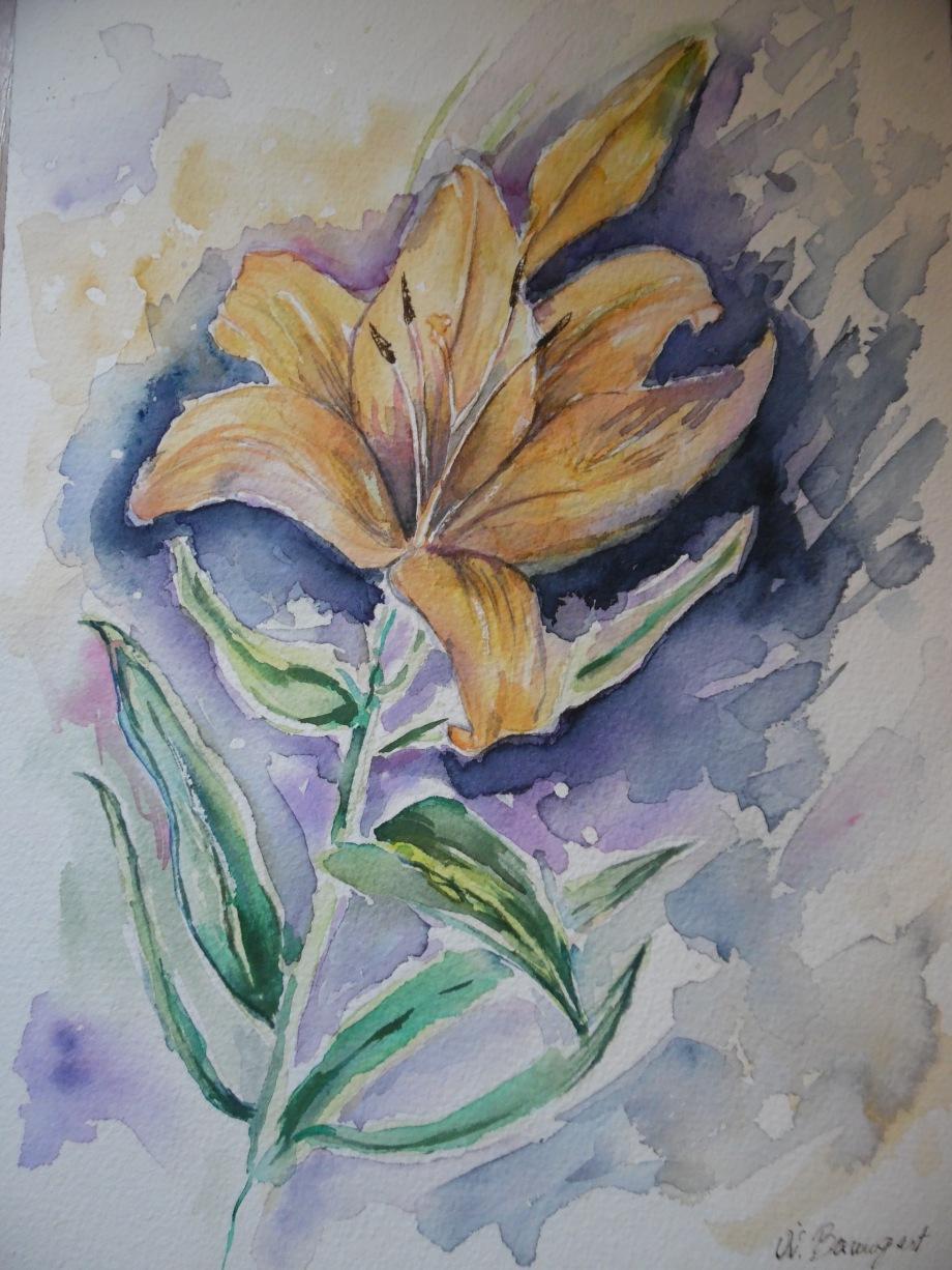 Lilie-Aquarell-Flower-Blume-Nadia-Baumgart
