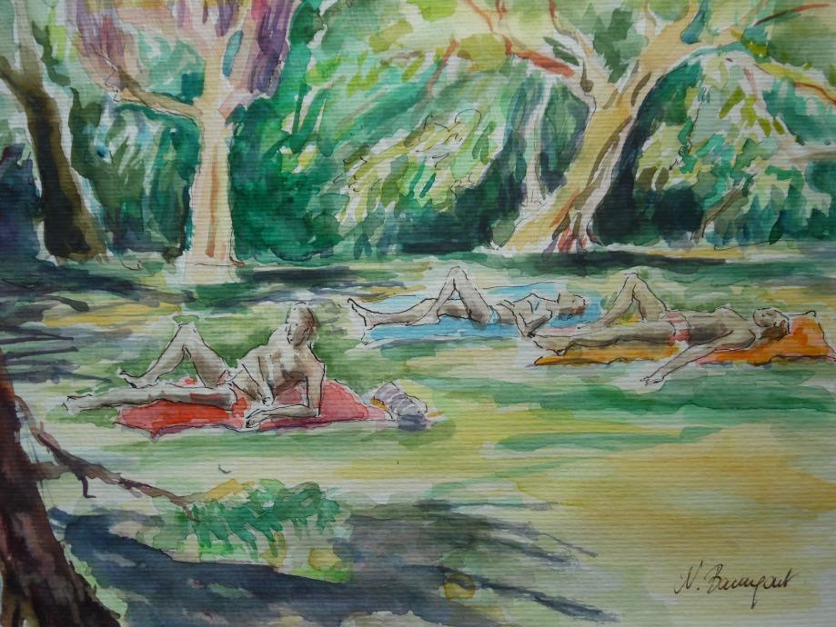 Nachmittag-im-Freibad-Opelbad-Wiesbaden-Aquarell-Watercolour-Nadia-Baumgart