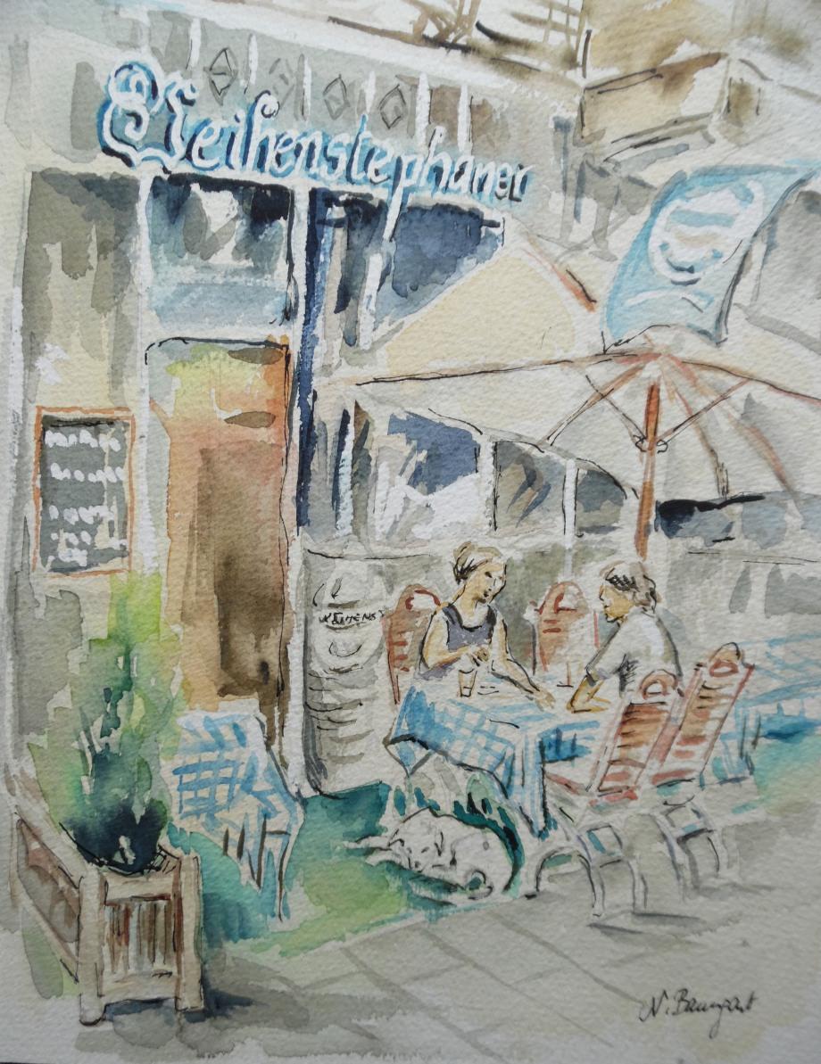 Restaurant-Weihenstephaner-Aquarell-Nadia-Baumgart