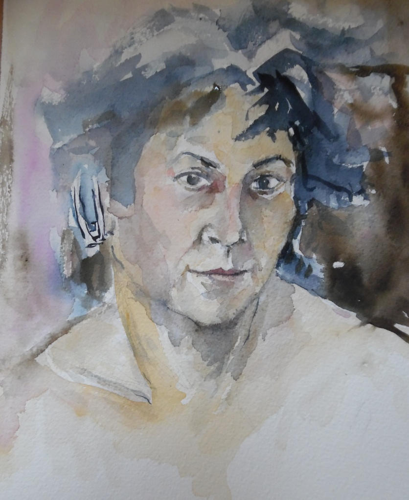 Selbstportrait-mit-Kopfhoerer-Aquarell-Nadia-Baumgart