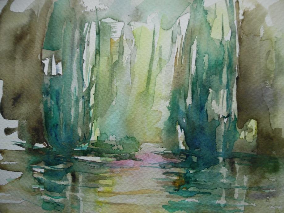 Zypressen-am-See-Aquarell-Nadia-Baumgart