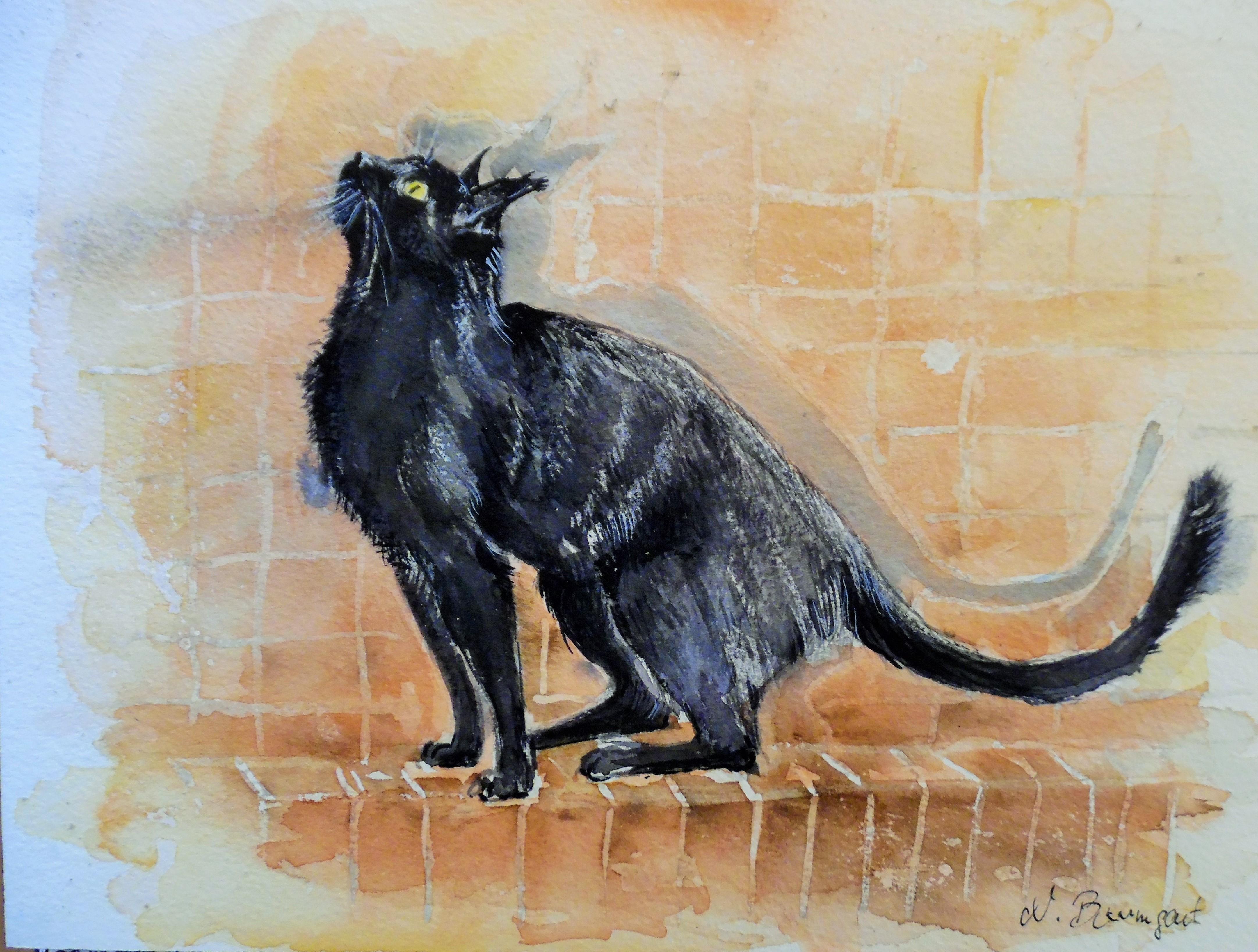 Black-cat-Schwarze-Katze-Aquarell-Nadia-Baumgart