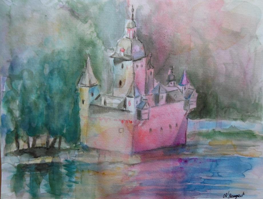 Burg-Pfalzgrafenstein-Kaub-Aquarell-Nadia-Baumgart