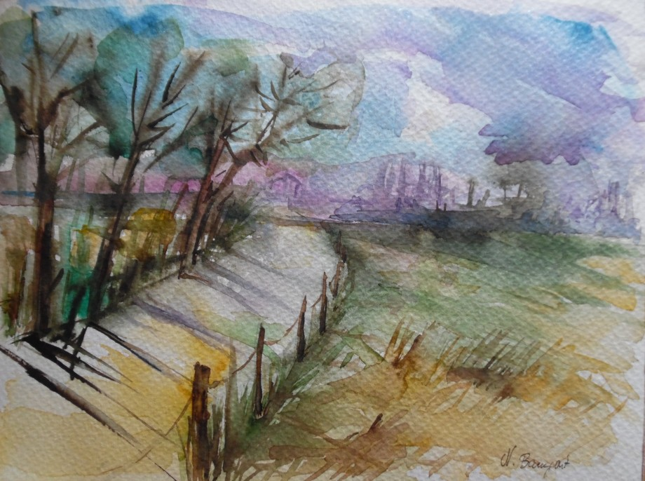 Feldweg-Path-Aquarell-Watercolour-Nadia-Baumgart