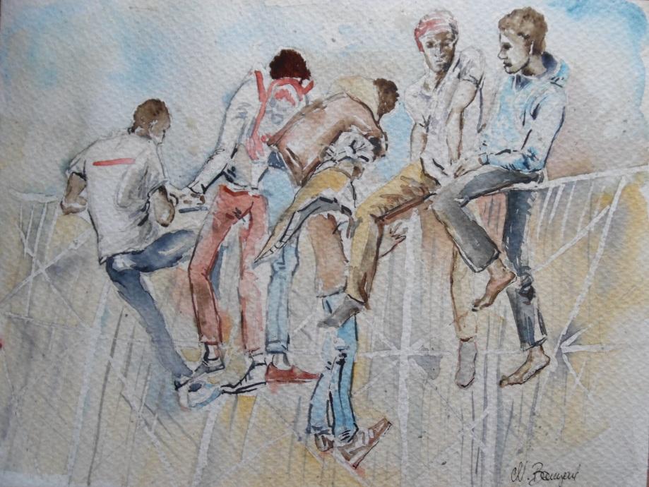 Flüchtlinge-Mellila-Marokko-Aquarell-Watercolour-Nadia-Baumgart