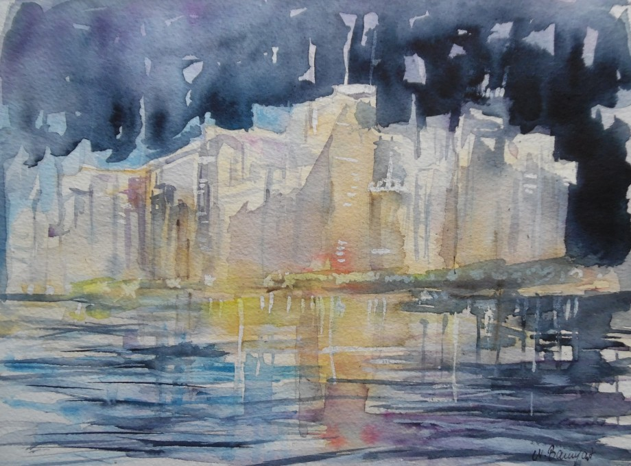 Skyline-by-night-Aquarell-Watercolour-Nadia-Baumgart