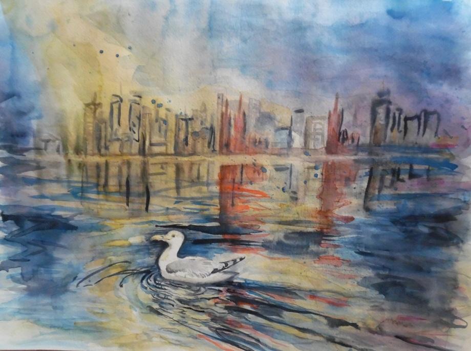 Stadtflucht-exode-urbain-Aquarelle-Watercolour-Nadia-Baumgart