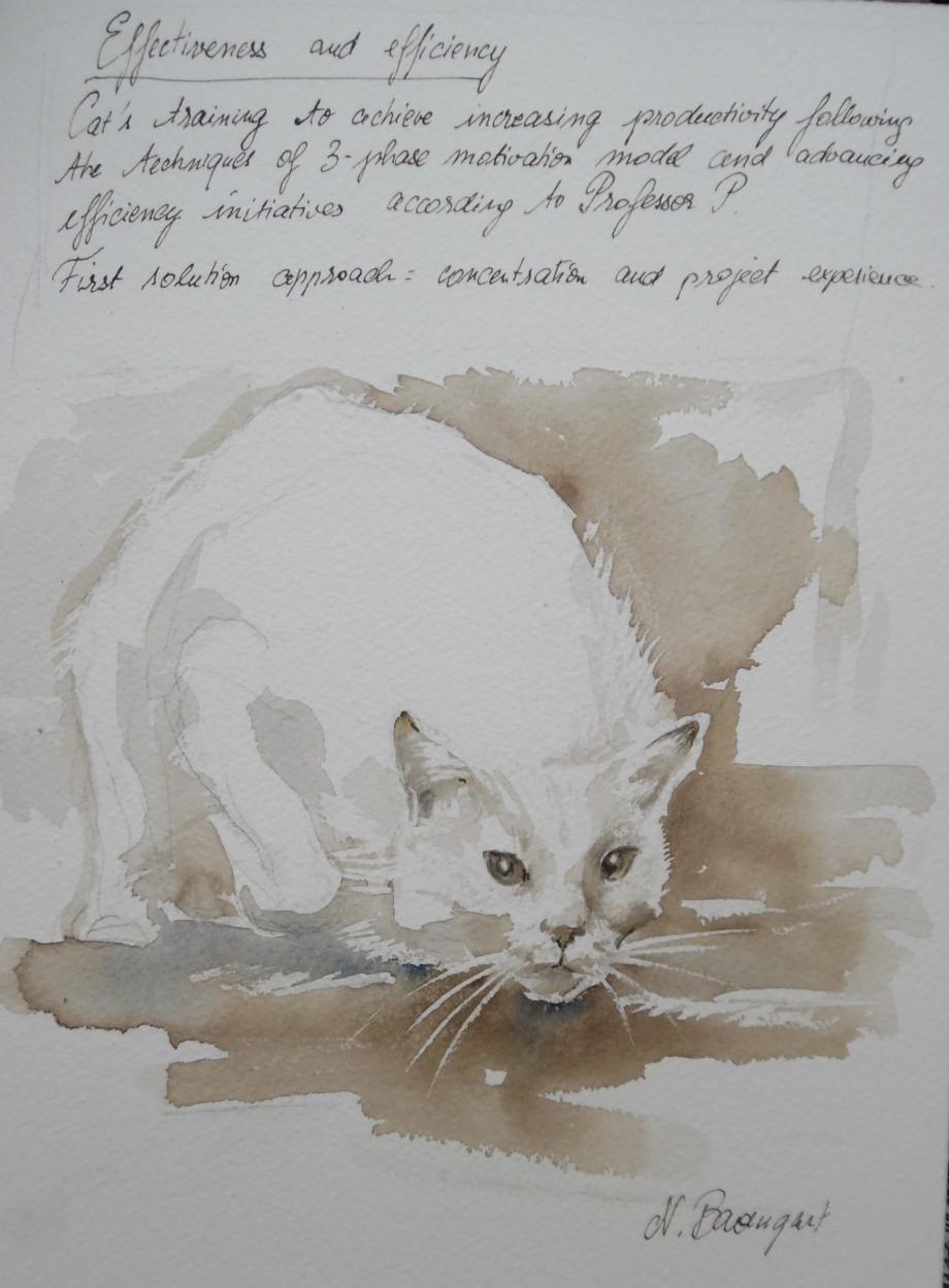 Cat-hunting-jagende-Katze-Aquarell-Comic-Nadia Baumgart