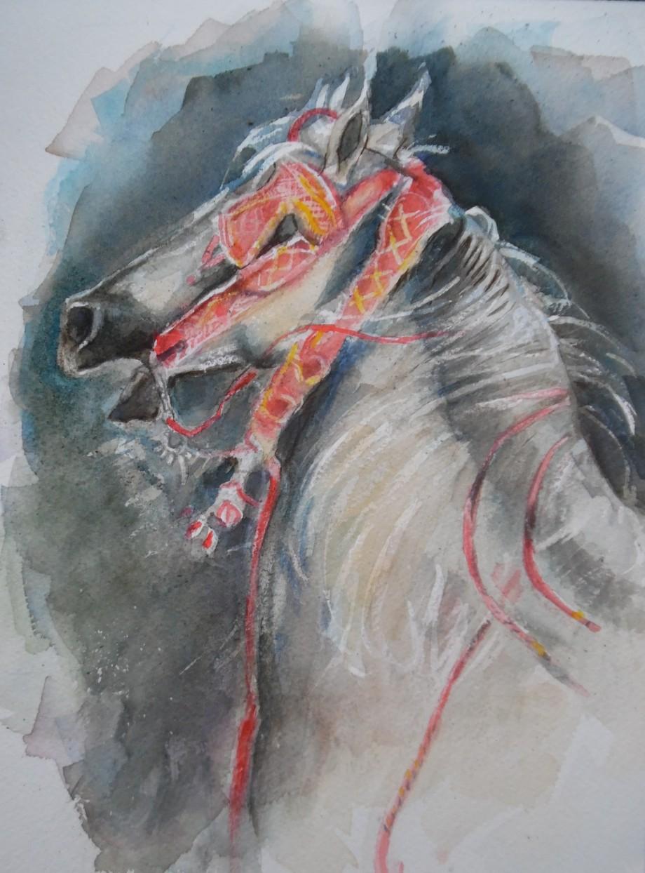 Egyptian-horse-Pferd-Aquarell-Watercolour-Nadia-Baumgart