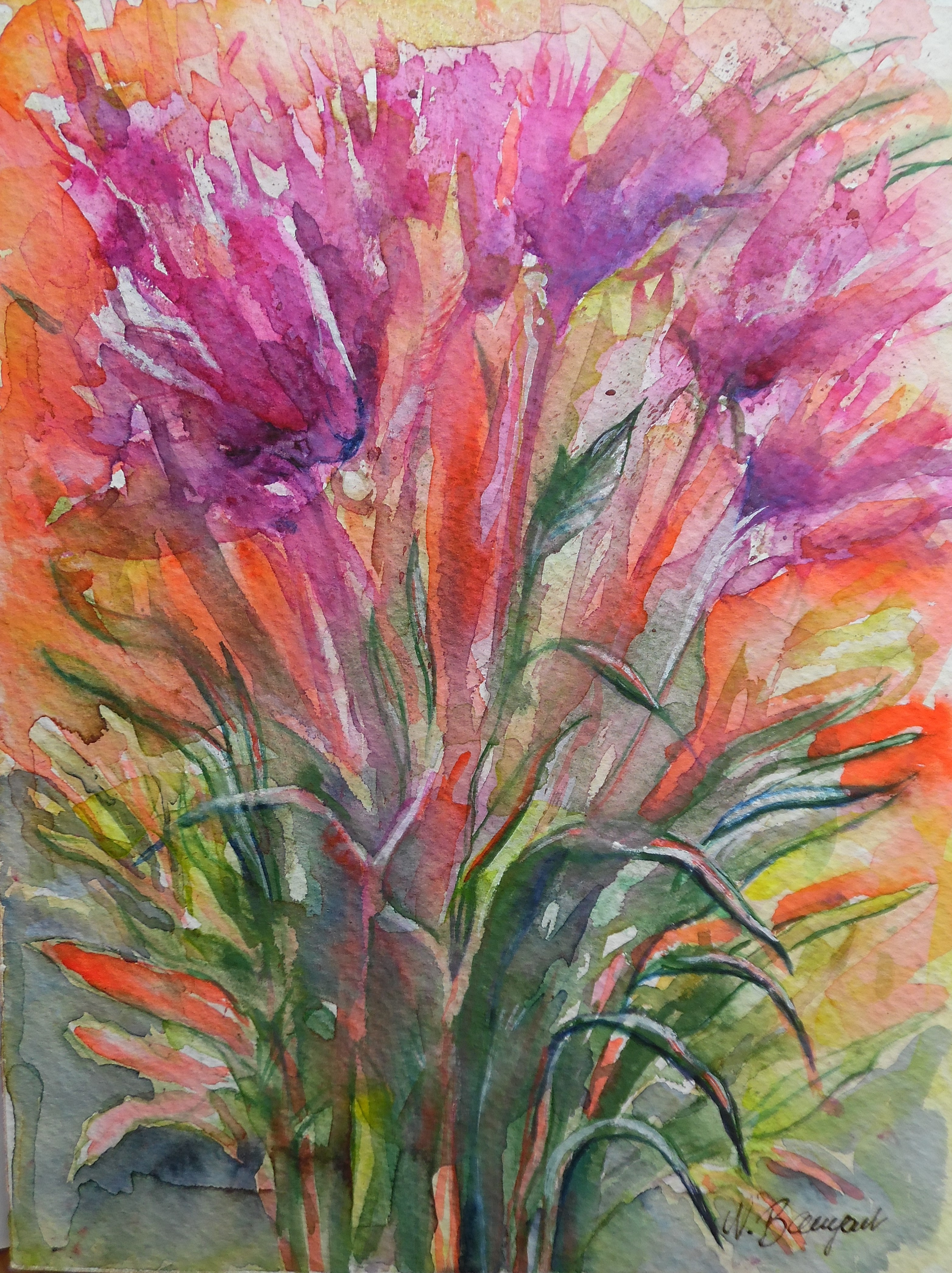 Flowers-Blumen-Jazz-Aquarell-Watercolor-Nadia-Baumgart