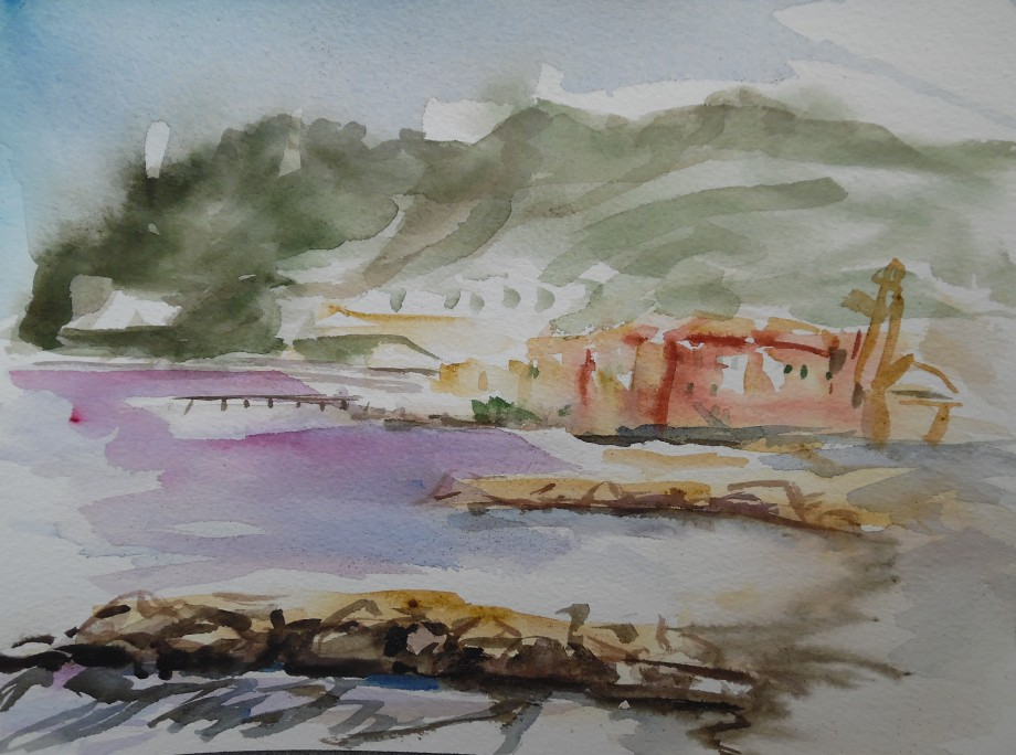 Laigueglia-Seascape-Aquarell-Watercolour-Nadia-Baumgart