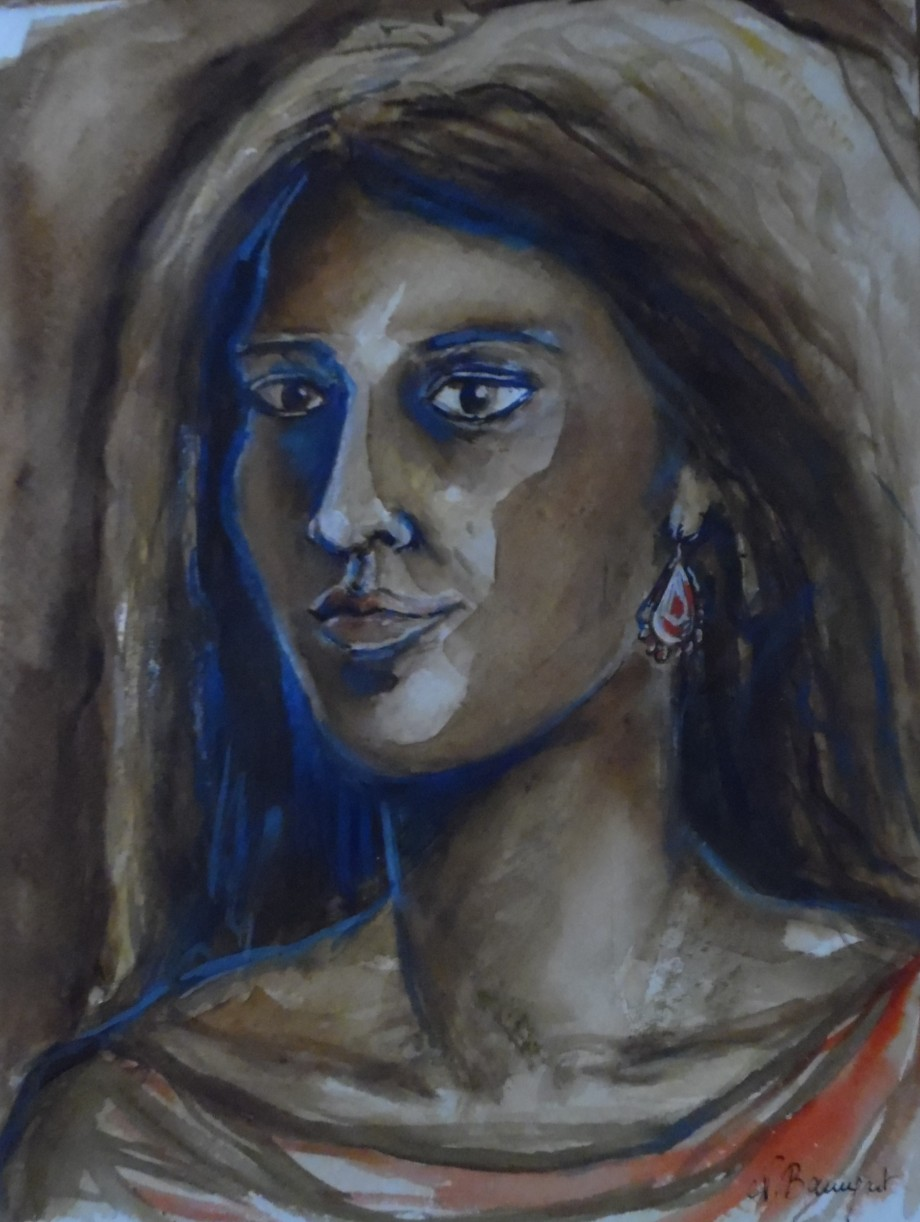Portrait-de-femme-Aquarell-Watercolor-Nadia-Baumgart
