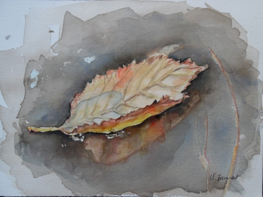 September-Blatt-Feuille-Aquarell-Watercolour-Nadia-Baumgart