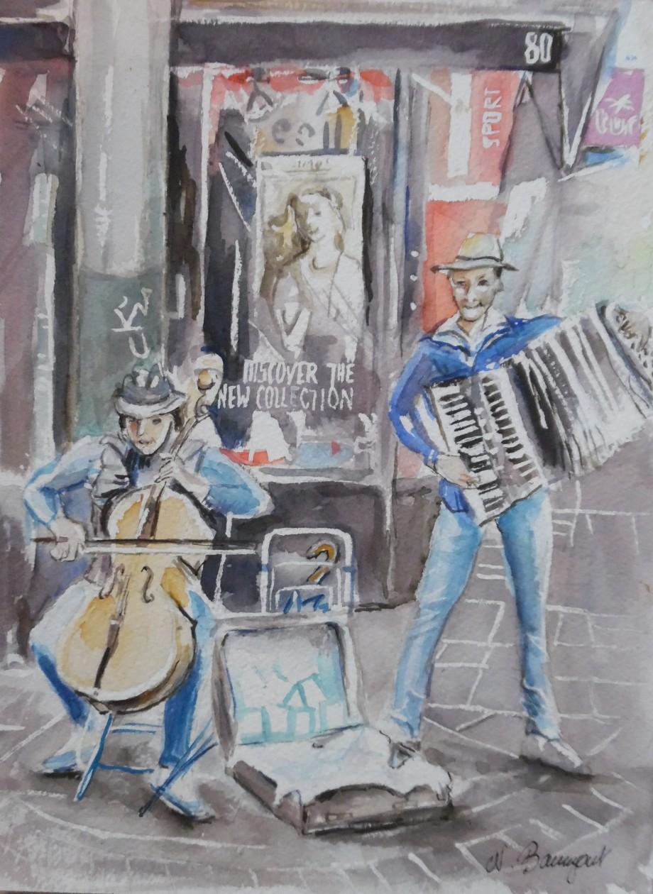 Straßenmusikanten-Wiesbaden-Aquarell-Watercolour-Nadia-Baumgart
