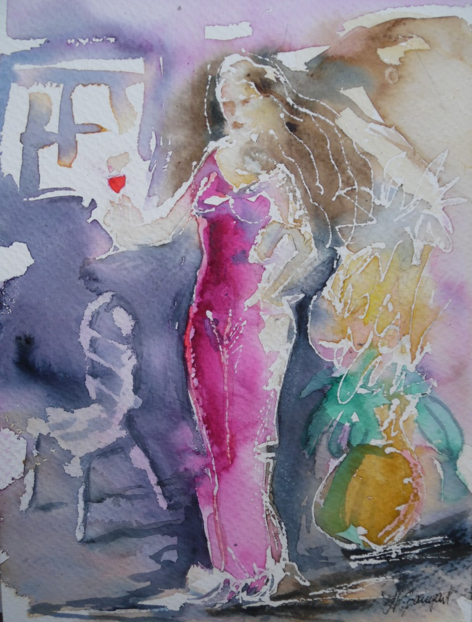 The-glass-of-wine-Aquarell-Watercolor-Nadia-Baumgart