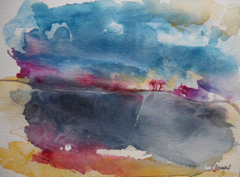 Trees-in-the-storm-Bäume-im-Sturm-Aquarell-Nadia-Baumgart