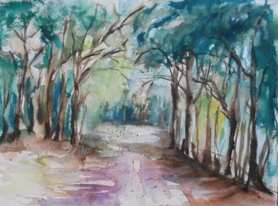 Wald-Foret-Aquarell-Watercolour-Nadia-Baumgart