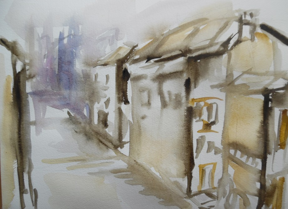 Dorf-Village-Aquarell-Watercolour-Nadia-Baumgart