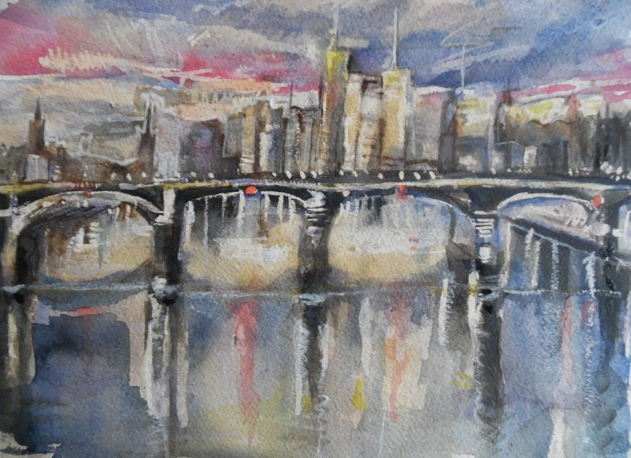 Frankfurt-Skyline-Aquarell-Watercolour-Nadia-Baumgart