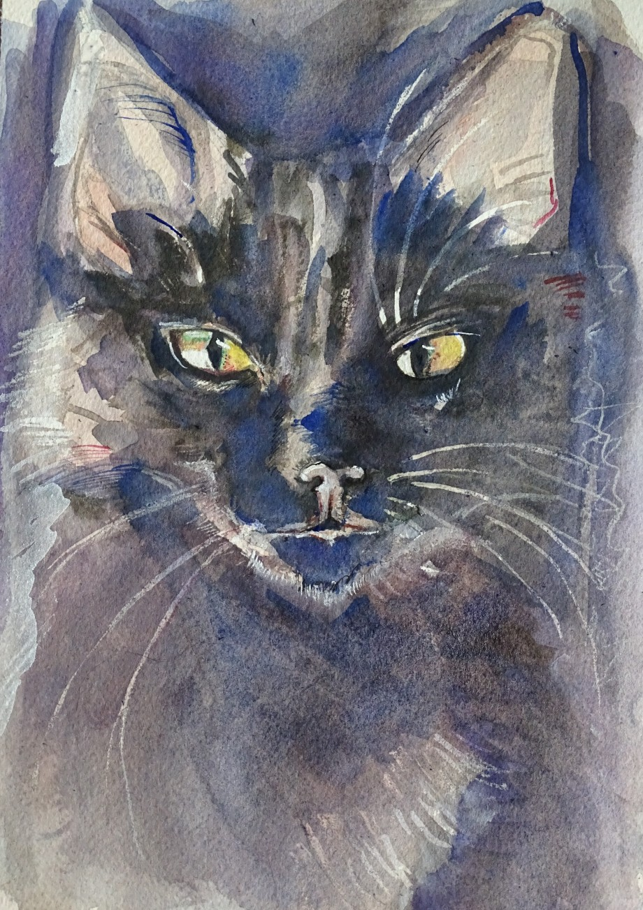 Le-chat-bleu-Aquarell-Nadia-Baumgart