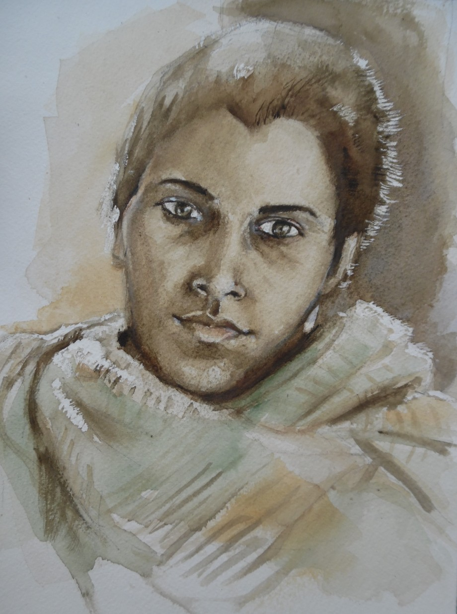 Nostalgie-Aquarell-watercolour-girl-Nadia-Baumgart