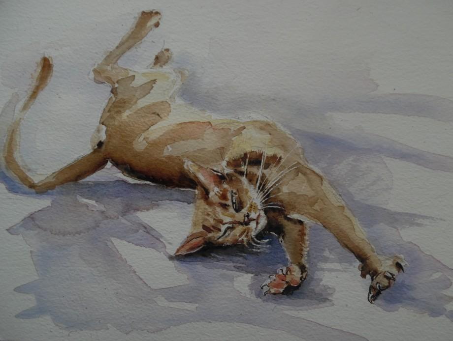 Sich-streckende-Katze-Cat-Aquarell-Watercolour-Nadia-Baumgart