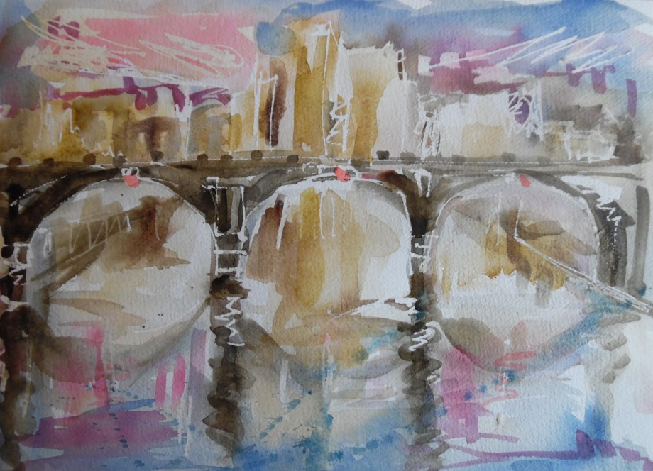 The-bridge-Aquarell-Watercolor-Nadia-baumgart