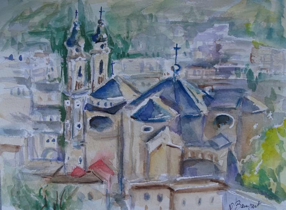 Chiesa-Laigueglia-Acquerello-Aquarell-nadia-Baumgart