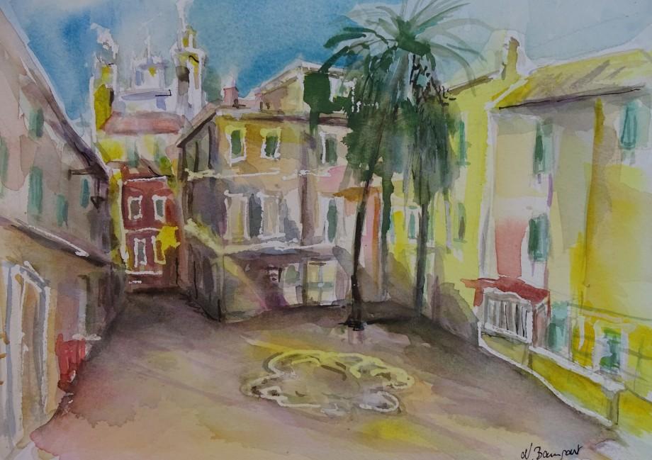Italian-Riviera-Laigueglia-Aquarell-Nadia-Baumgart