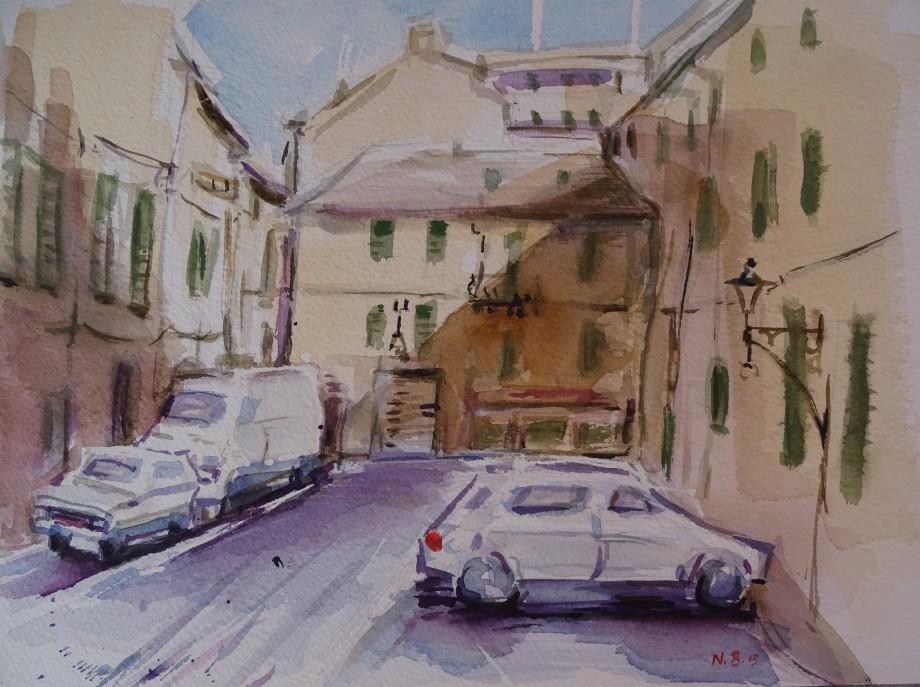Piazzetta-Albenga-Watercolour-Nadia-Baumgart