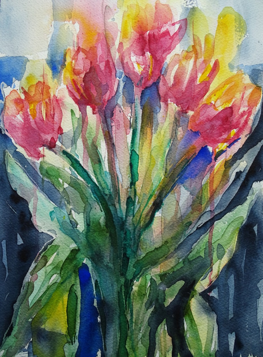 Tulips-Aquarell-Watercolour-Nadia-Baumgart