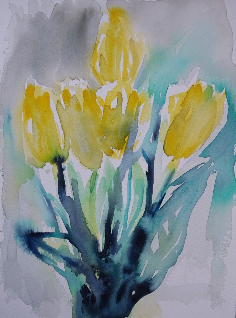 Tulips-Watercolour-Aquarell-Nadia-Baumgart