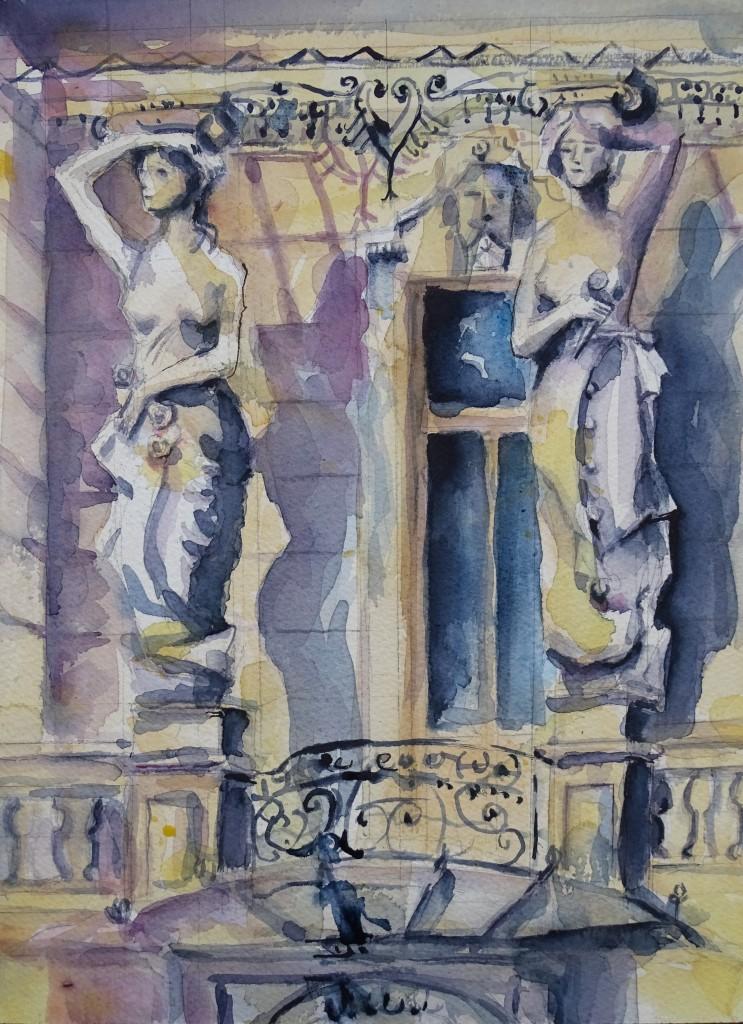 Villa-Karyatiden--Wiesbaden-Nerotal-Nadia-Baumgart-Aquarell-Watercolour